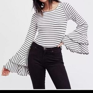 We the free good find bell sleeve striped blouse L